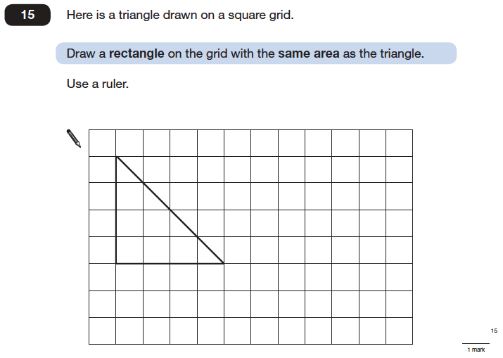 Question 15 Maths KS2 SATs Papers 2006 - Year 6 Sample Paper 2, Geometry, Rectangle, Area & Perimeter, Triangles