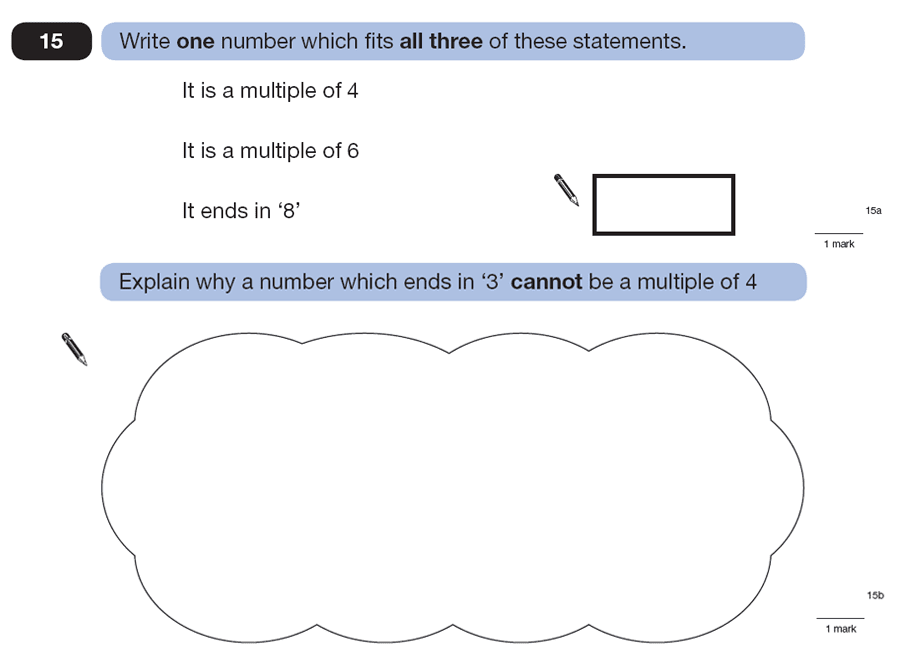 Question 15 Maths KS2 SATs Papers 2007 - Year 6 Exam Paper 1, Numbers, Multiples, Logical Problems
