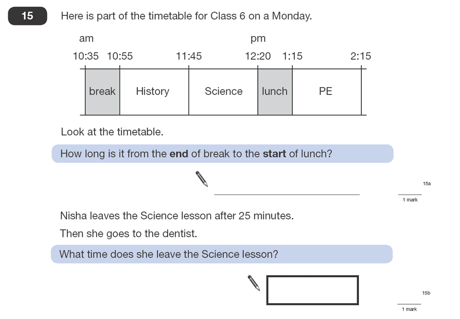 Question 15 Maths KS2 SATs Papers 2008 - Year 6 Practice Paper 1, Time