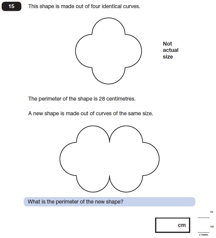 Question 15 Maths KS2 SATs Papers 2014 - Year 6 Sample Paper 1, Geometry, Area & Perimeter, 2D shapes, Logical Problems