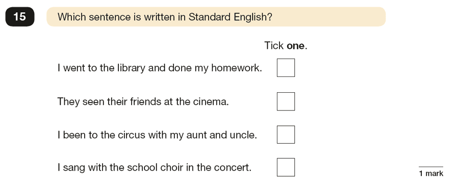 Question 15 SPaG KS2 SATs Papers 2016 - Year 6 English Sample Paper 1, Standard English and formality