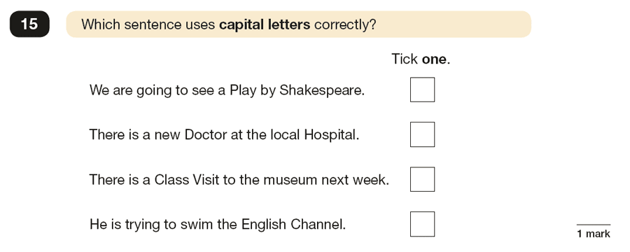 Question 15 SPaG KS2 SATs Papers 2017 - Year 6 English Sample Paper 1, Punctuation