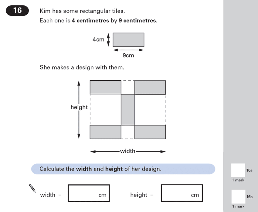 Question 16 Maths KS2 SATs Papers 2000 - Year 6 Practice Paper 1, Geometry, 2D shapes, Compound Shapes, Rectangle