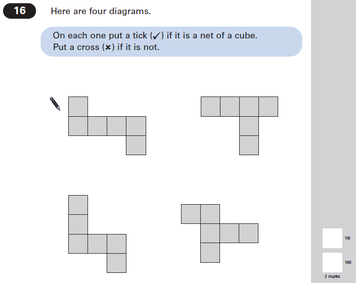 Question 16 Maths KS2 SATs Papers 2005 - Year 6 Exam Paper 1, Geometry, Nets of Solids, Cubes and Cuboids