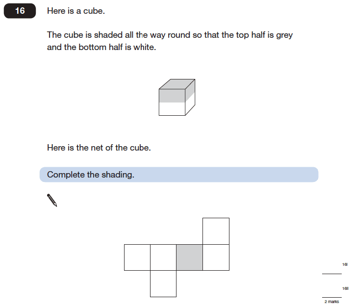 Question 16 Maths KS2 SATs Papers 2006 - Year 6 Exam Paper 2, Geometry, Nets of Solids, Cubes and Cuboids