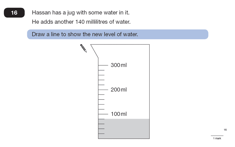 Question 16 Maths KS2 SATs Papers 2007 - Year 6 Past Paper 2, Numbers, Word Problems, Measurement, Scale reading