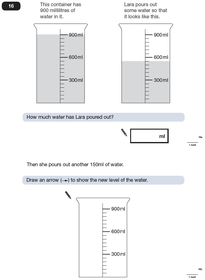 Question 16 Maths KS2 SATs Papers 2009 - Year 6 Exam Paper 1, Measurement, Scale reading