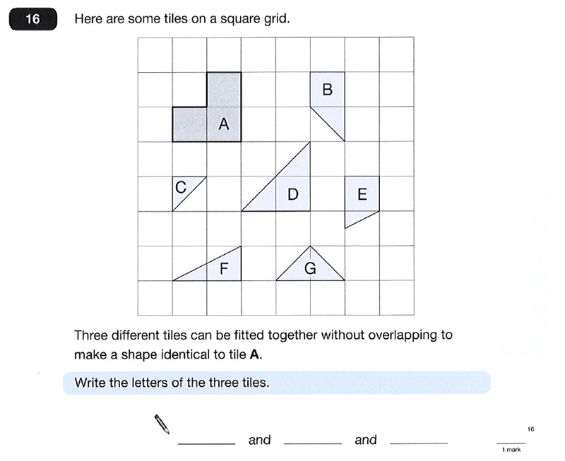 Question 16 Maths KS2 SATs Papers 2012 - Year 6 Exam Paper 2, Geometry, 2D shapes, Logical Problems