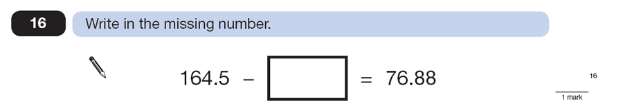 Question 16 Maths KS2 SATs Papers 2013 - Year 6 Exam Paper 2, Numbers, Decimals, Subtraction