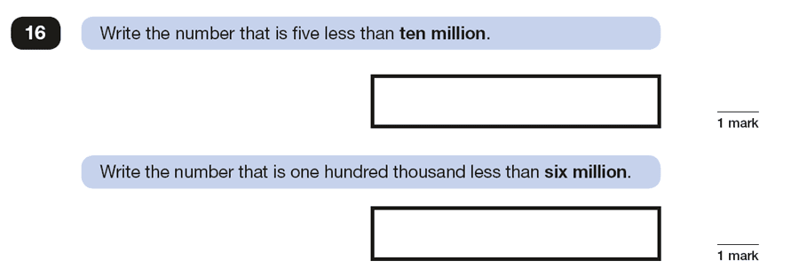 Question 16 Maths KS2 SATs Papers 2016 - Year 6 Exam Paper 2 Reasoning, Numbers, Subtraction, Read and Write Numbers