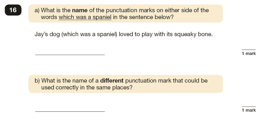 Question 16 SPaG KS2 SATs Papers 2016 - Year 6 English Exam Paper 1, Punctuation