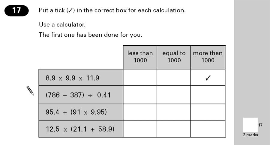 Question 17 Maths KS2 SATs Papers 2000 - Year 6 Exam Paper 2, Numbers, Decimals, Algebra, BIDMAS
