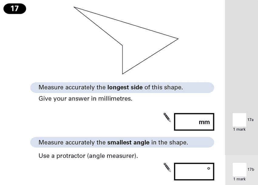 Question 17 Maths KS2 SATs Papers 2001 - Year 6 Exam Paper 1, Geometry, Polygons, Angles, Measurement, Unit Conversions, Ruler Measurement