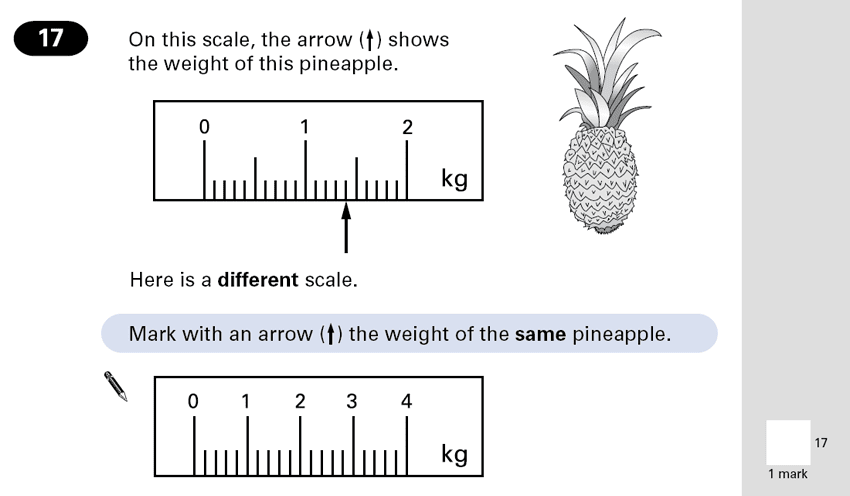 Question 17 Maths KS2 SATs Papers 2001 - Year 6 Exam Paper 2, Measurement, Scale reading