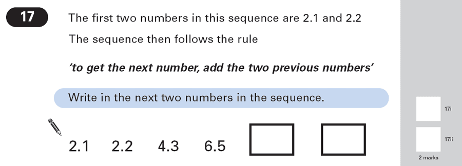 Question 17 Maths KS2 SATs Papers 2003 - Year 6 Exam Paper 1, Numbers, Decimals, Algebra, Patterns & Sequences
