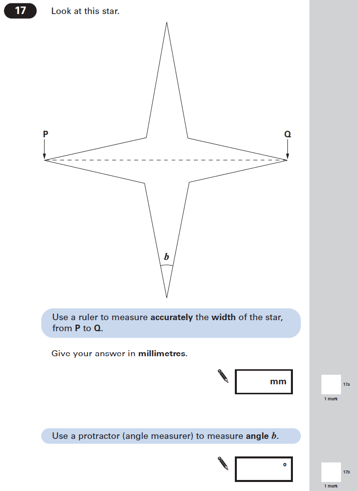 Question 17 Maths KS2 SATs Papers 2005 - Year 6 Practice Paper 1, Geometry, Angles, Measurement, Ruler Measurement