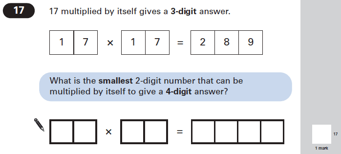 Question 17 Maths KS2 SATs Papers 2005 - Year 6 Practice Paper 2, Numbers, Multiplication, Square Numbers