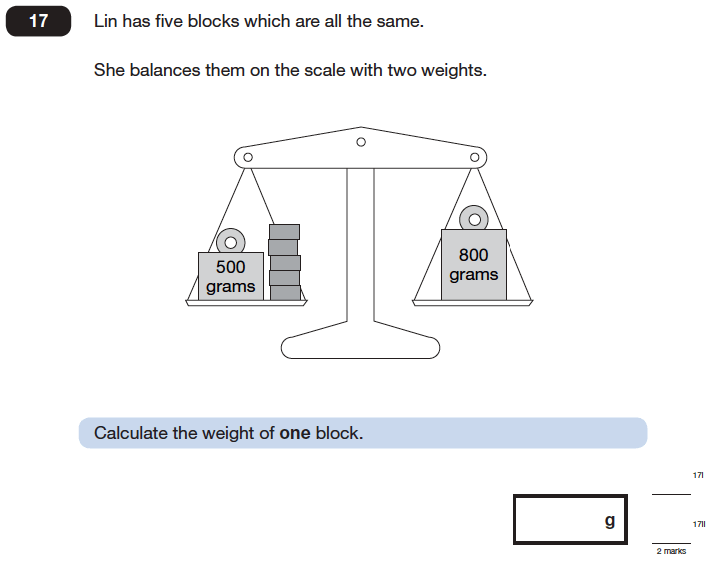 Question 17 Maths KS2 SATs Papers 2006 - Year 6 Practice Paper 2, Numbers, Word Problems, Algebra, Linear Equations