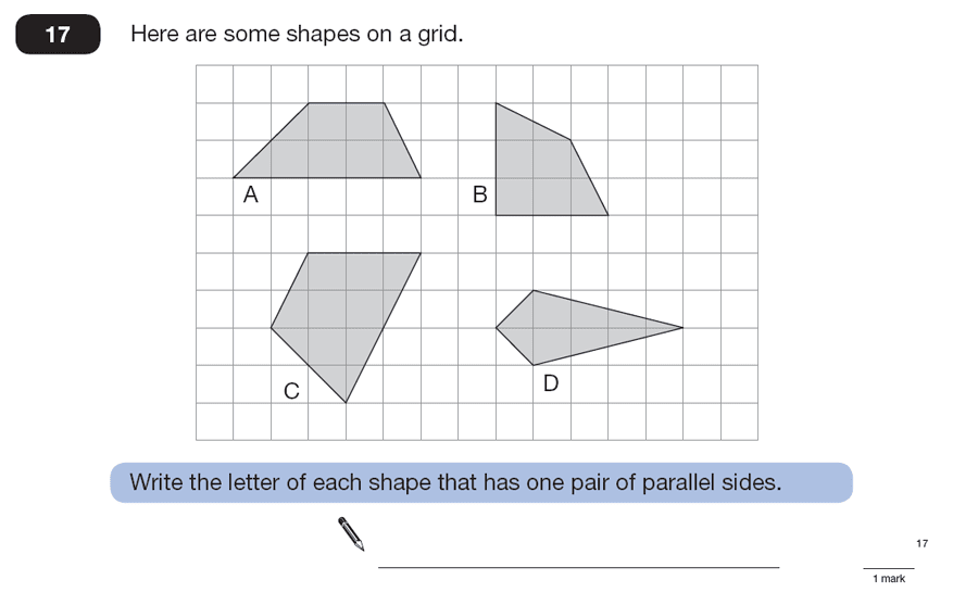 Question 17 Maths KS2 SATs Papers 2007 - Year 6 Sample Paper 1, Geometry, 2D shapes