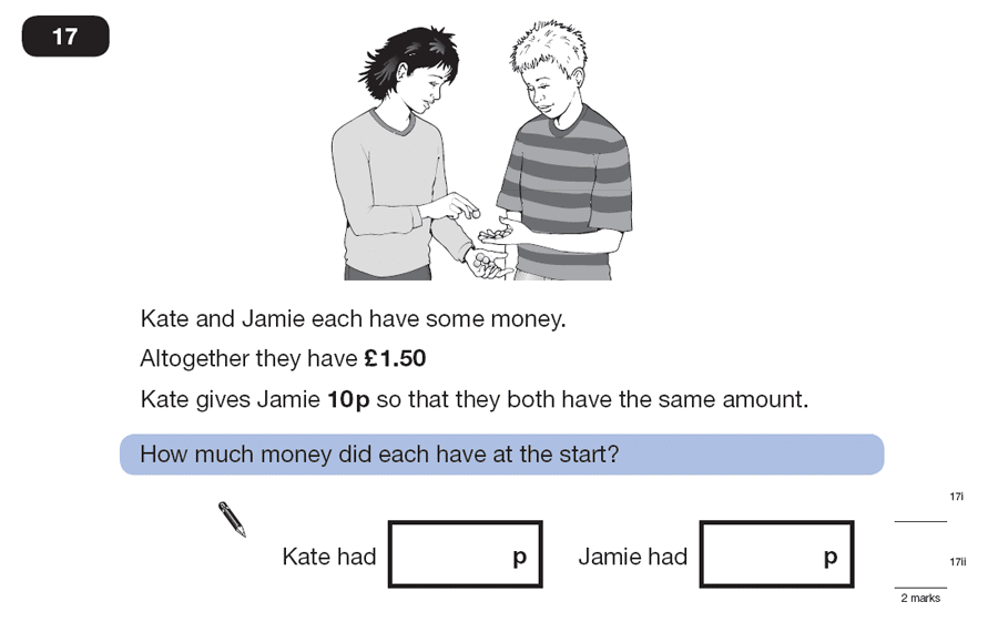 Question 17 Maths KS2 SATs Papers 2007 - Year 6 Sample Paper 2, Numbers, Division, Addition, Word Problems, Logical Problems, Money