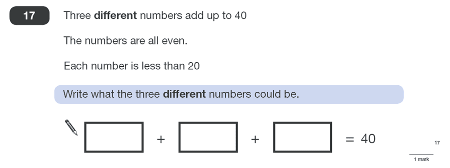 Question 17 Maths KS2 SATs Papers 2010 - Year 6 Practice Paper 1, Numbers, Addition, Logical Problems