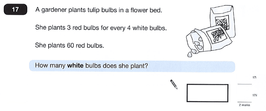 Question 17 Maths KS2 SATs Papers 2012 - Year 6 Past Paper 2, Numbers, Word Problems, Ratio & Proportion