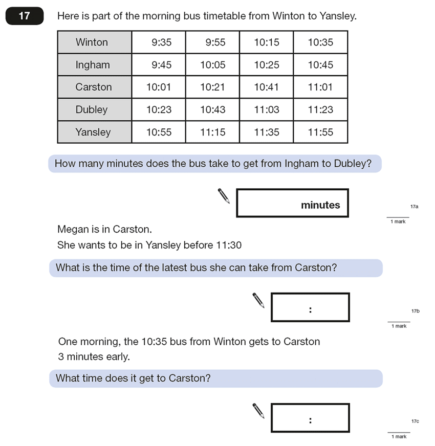 Question 17 Maths KS2 SATs Papers 2015 - Year 6 Sample Paper 2, Numbers, Word Problems, Statistics, Time and Distance Tables, Time