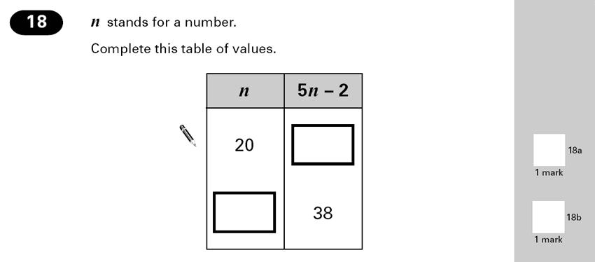 Question 18 Maths KS2 SATs Papers 2000 - Year 6 Past Paper 2, Algebra, Substitution