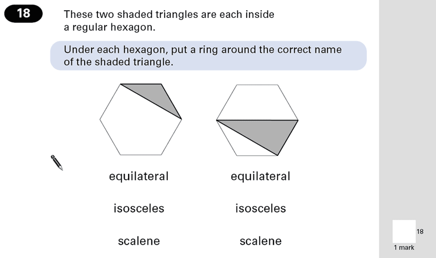 Question 18 Maths KS2 SATs Papers 2001 - Year 6 Past Paper 2, Geometry, Polygons, Triangles