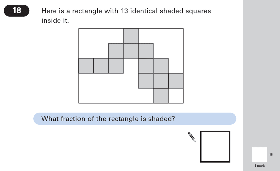 Question 18 Maths KS2 SATs Papers 2003 - Year 6 Past Paper 1, Numbers, Fractions, Geometry, Square, Rectangle
