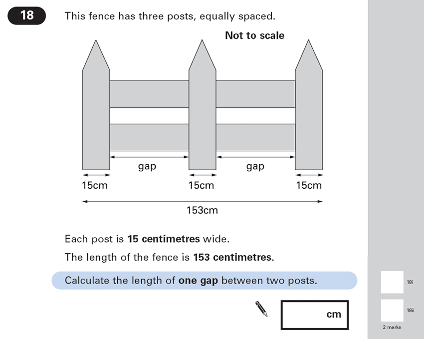 Question 18 Maths KS2 SATs Papers 2003 - Year 6 Past Paper 2, Numbers, Word Problems, Algebra, Linear Equations