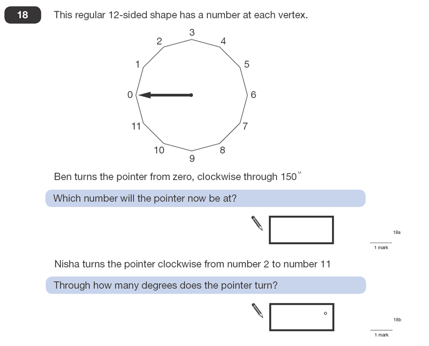 Question 18 Maths KS2 SATs Papers 2008 - Year 6 Sample Paper 1, Geometry, Polygons, Angles