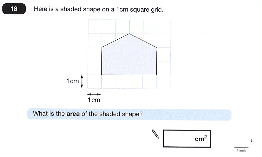 Question 18 Maths KS2 SATs Papers 2012 - Year 6 Sample Paper 2, Geometry, 2D shapes, Compound Shapes, Area & Perimeter
