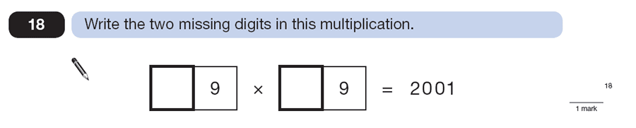 Question 18 Maths KS2 SATs Papers 2013 - Year 6 Sample Paper 2, Numbers, Missing Digits, Multiplication