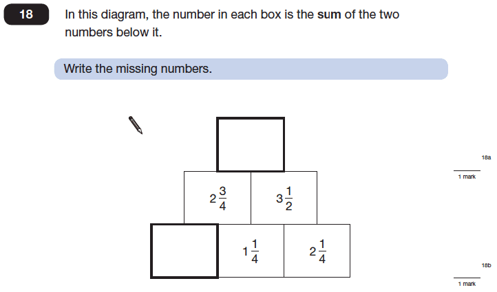 Question 18 Maths KS2 SATs Papers 2014 - Year 6 Practice Paper 1, Numbers, Fractions, Addition