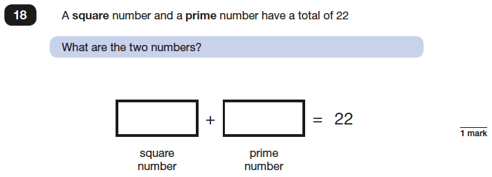 Question 18 Maths KS2 SATs Papers 2017 - Year 6 Sample Paper 3 Reasoning, Numbers, Prime Numbers, Square Numbers