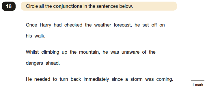 Question 18 SPaG KS2 SATs Papers 2016 - Year 6 English Past Paper 1, Grammatical terms / word classes