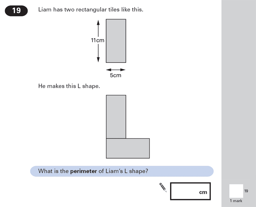 Question 19 Maths KS2 SATs Papers 2000 - Year 6 Sample Paper 1, Geometry, Area & Perimeter, Compound Shapes, Rectangle