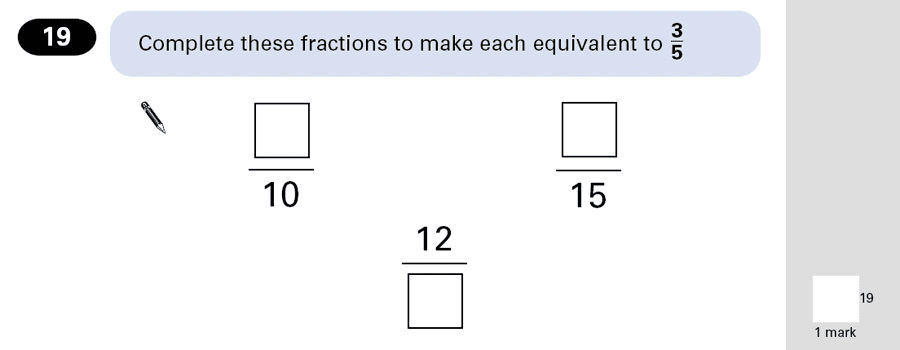 Question 19 Maths KS2 SATs Papers 2001 - Year 6 Sample Paper 1, Numbers, Fractions