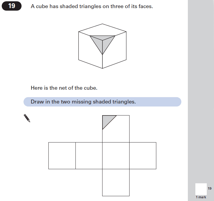 Question 19 Maths KS2 SATs Papers 2002 - Year 6 Past Paper 2, Geometry, Cubes and Cuboids, Nets of Solids