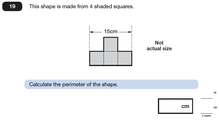 Question 19 Maths KS2 SATs Papers 2006 - Year 6 Sample Paper 1, Geometry, Square, Compound Shapes, Area & Perimeter