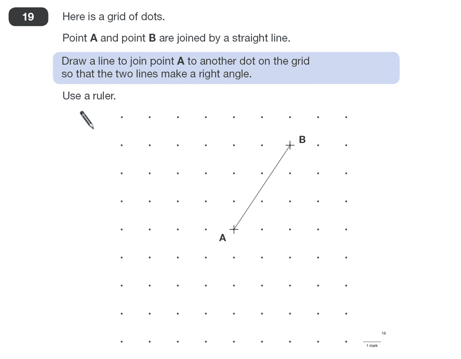 Question 19 Maths KS2 SATs Papers 2010 - Year 6 Exam Paper 1, Geometry, Angles, Perpendiculars