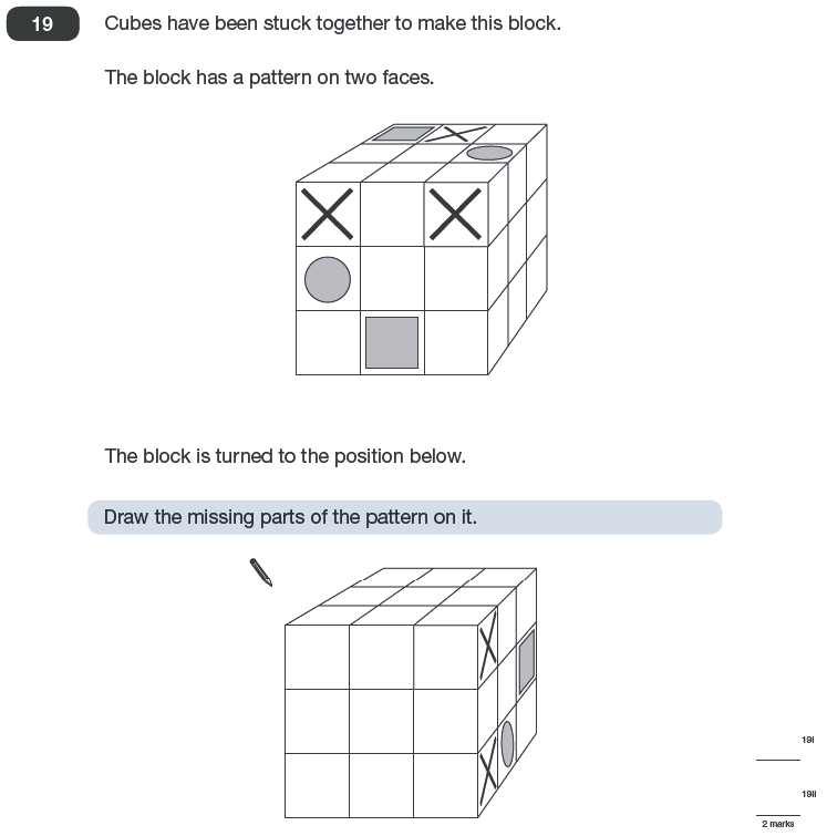 Question 19 Maths KS2 SATs Papers 2010 - Year 6 Past Paper 2, Geometry, Cubes and Cuboids, Logical Problems