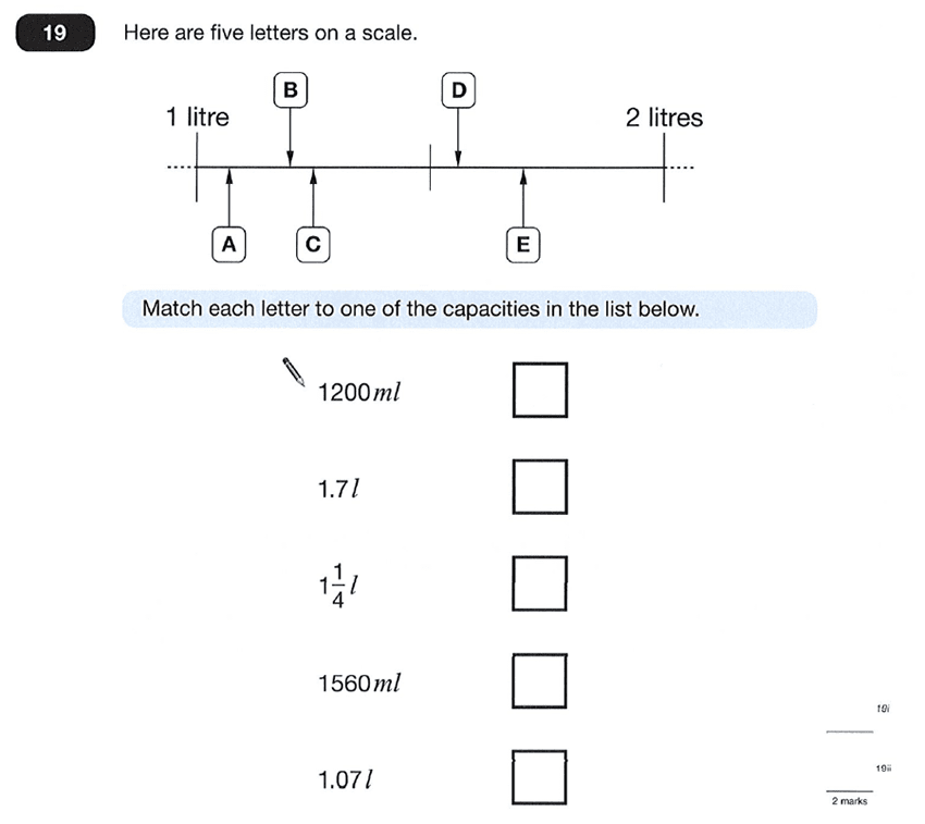 Question 19 Maths KS2 SATs Papers 2012 - Year 6 Practice Paper 1, Measurement, Scale reading