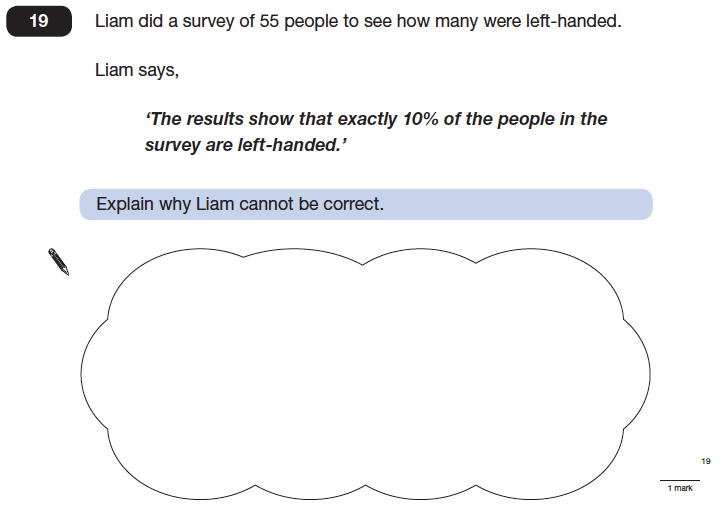 Question 19 Maths KS2 SATs Papers 2014 - Year 6 Sample Paper 1, Numbers, Word Problems, Percentages, Logical Problems