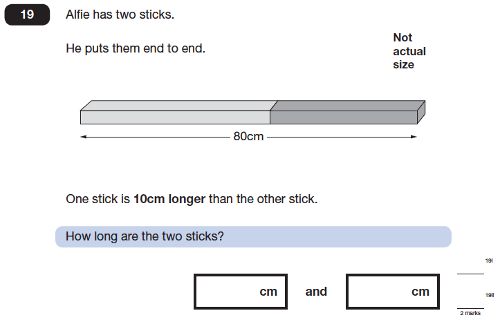 Question 19 Maths KS2 SATs Papers 2014 - Year 6 Sample Paper 2, Numbers, Word Problems, Algebra, Linear Equations