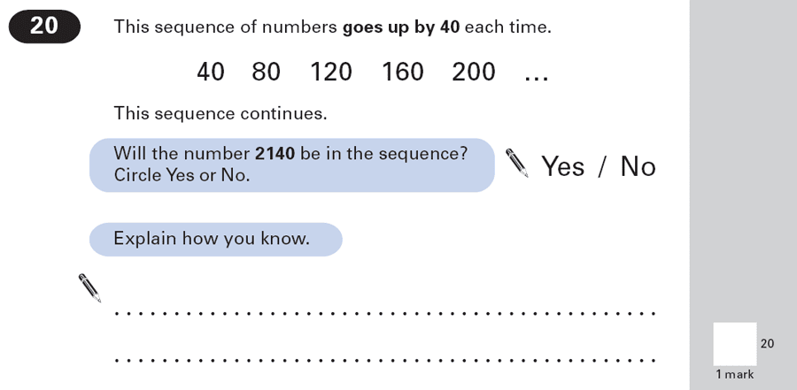 Question 20 Maths KS2 SATs Papers 2000 - Year 6 Practice Paper 1, Algebra, Patterns & Sequences