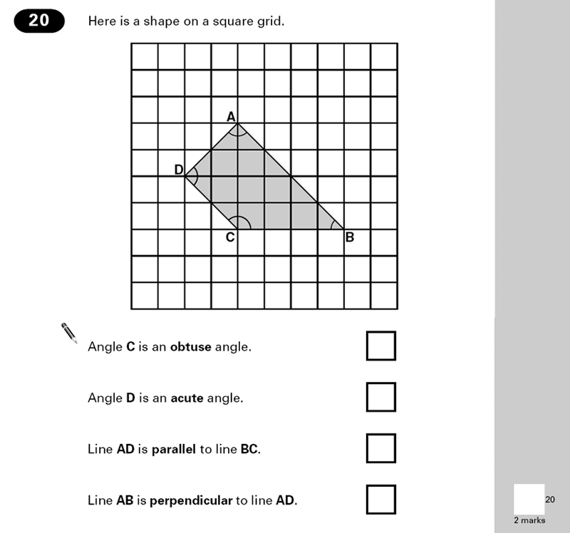 Question 20 Maths KS2 SATs Papers 2000 - Year 6 Practice Paper 2, Geometry, 2D shapes, Angles