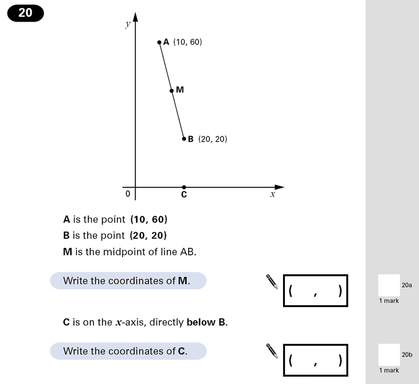 Question 20 Maths KS2 SATs Papers 2001 - Year 6 Practice Paper 1, Geometry, Coordinates