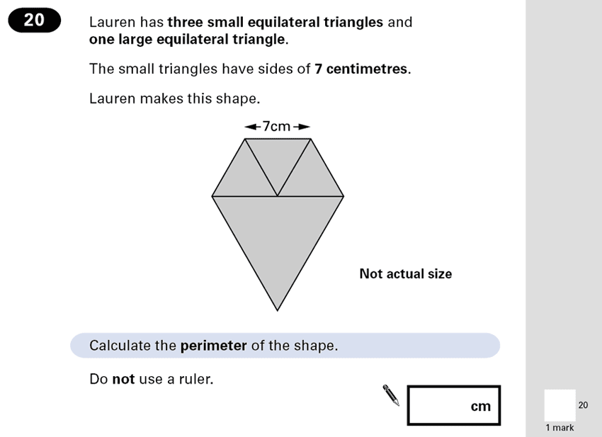 Question 20 Maths KS2 SATs Papers 2001 - Year 6 Practice Paper 2, Geometry, Triangles, 2D shapes, Area & Perimeter